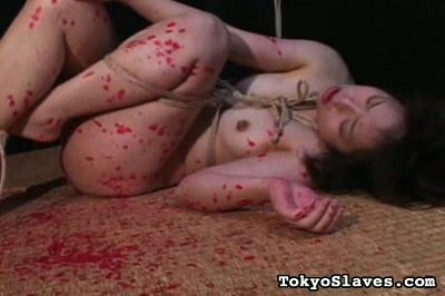 Japanese slut gets clamp and rope up