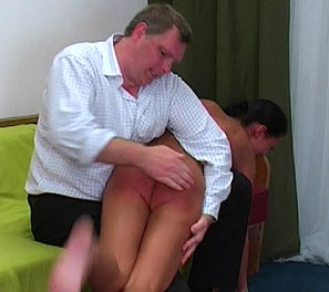 Hot German slut gets bent over and spanked