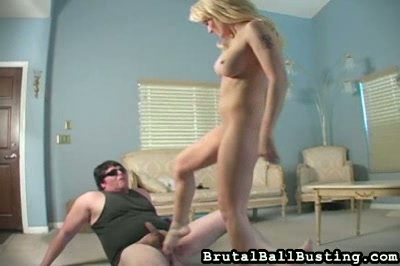 golden haired girl Ballbusting