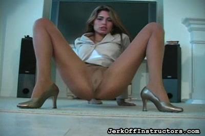 Businesswoman chick pantyhose upskirt
