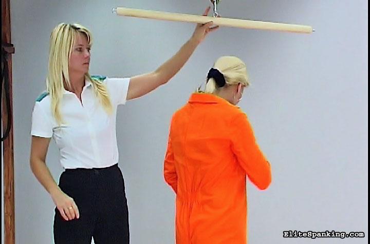 03 Bare Back Whipping Female   Blonde in orange